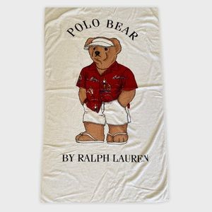 Ralph Lauren Polo Bear Large White Beach Towel